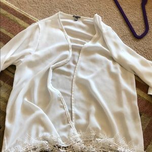 White swimsuit coverup cardigan